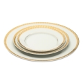 White with Gold Rim Dinnerware Pattern