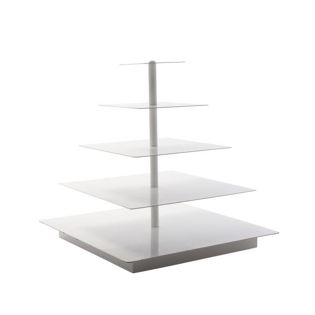 5 Tier White Square Cupcake Stand
