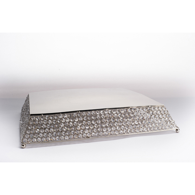 21 inch Square Crystal Cake Stand Tray