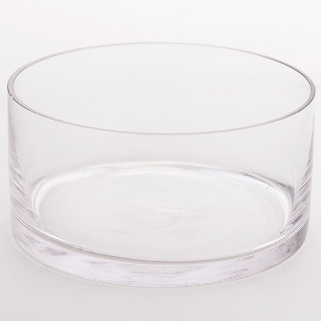 8 inch diameter x 4 inch high Glass Flat Bottom Bowl