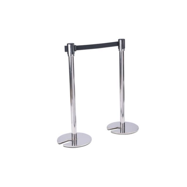 Chrome Stanchion with Retractable Barrier Tape