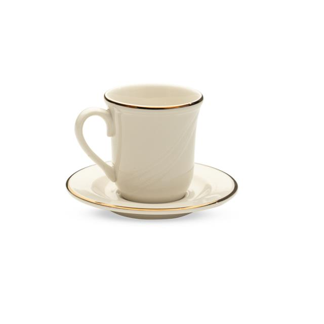 Ivory with Gold Rim Cup & Saucer – 20 per Rack