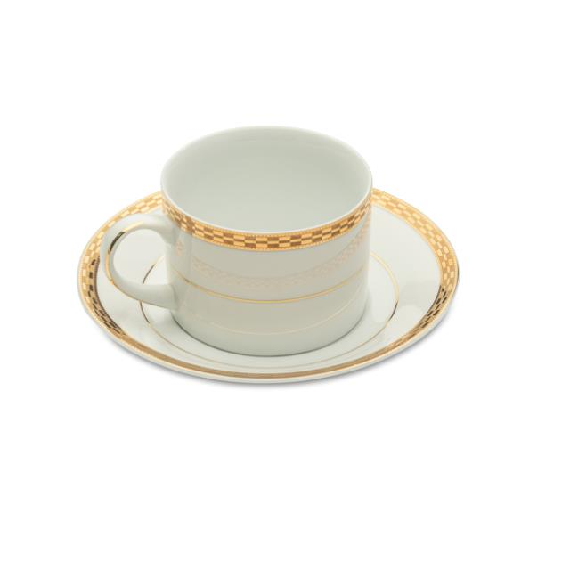White with Gold Rim Cup & Saucer – 20 per Rack