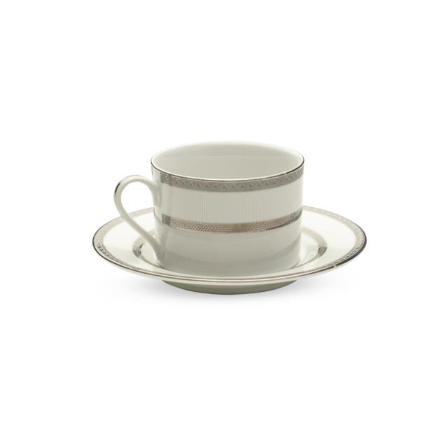 White with Silver Rim Cup & Saucer – 20 per Rack