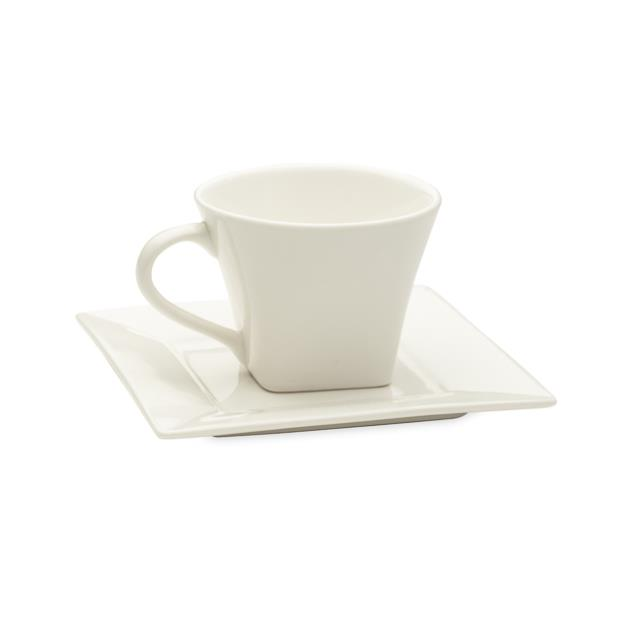 White Square Cup & Saucer – 20 per Rack