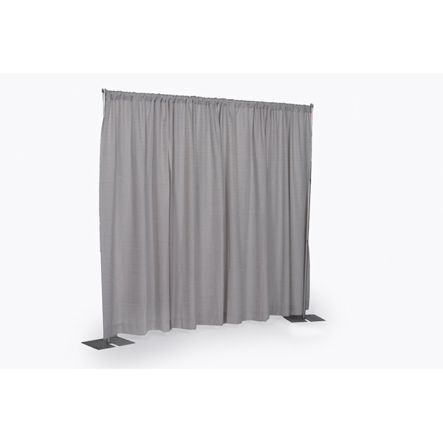 8 foot High x 6-10 foot Wide Silver Pipe & Drape Section