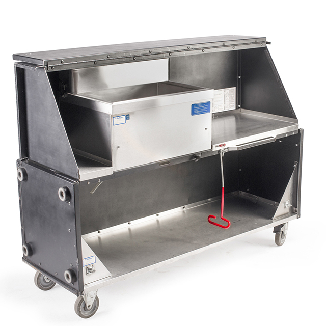 Portable Stainless Steel 5 foot Bar on Wheels with Ice Bin