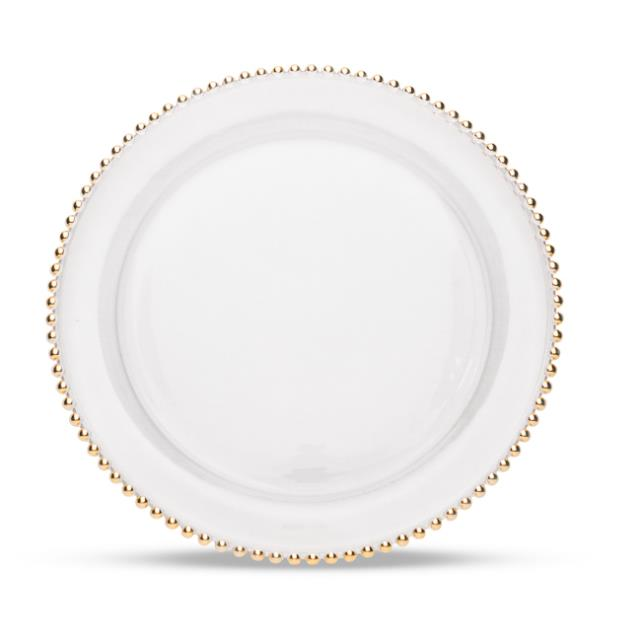 13 inch Gold Beaded Glass Charger