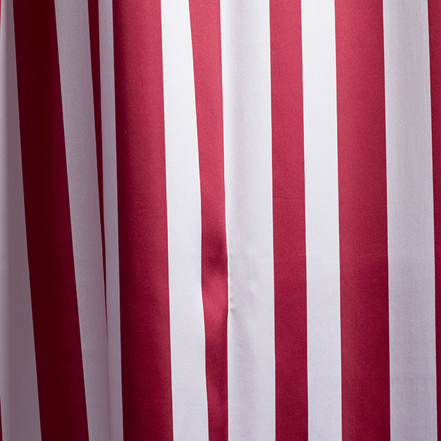 4.5 x 12 foot Red & White Stripe Satin Drape