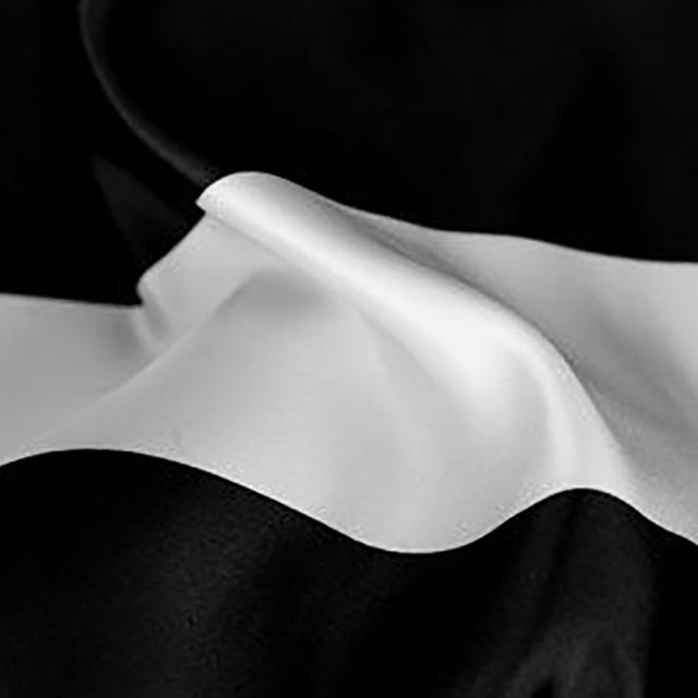 13 x 120 inch Black/White Wide Stripe Satin Runner
