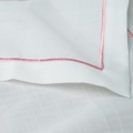 White/Pink Embroidered Poly Napkin Pack of 12