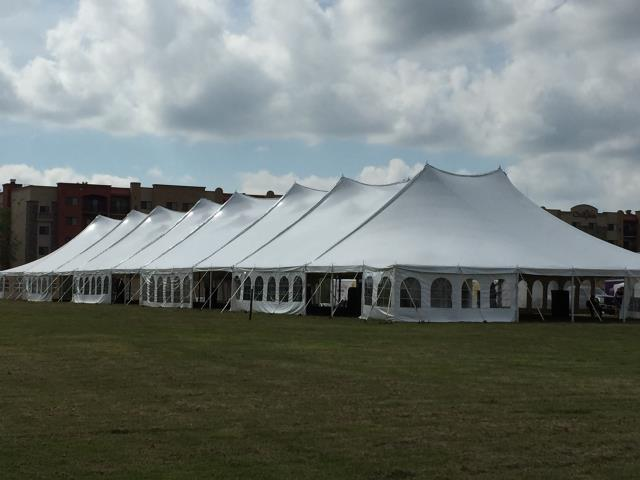 60 foot Wide Installed White Pole Tents