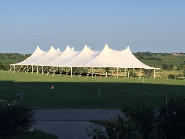 80 foot Wide Installed White Pole Tents