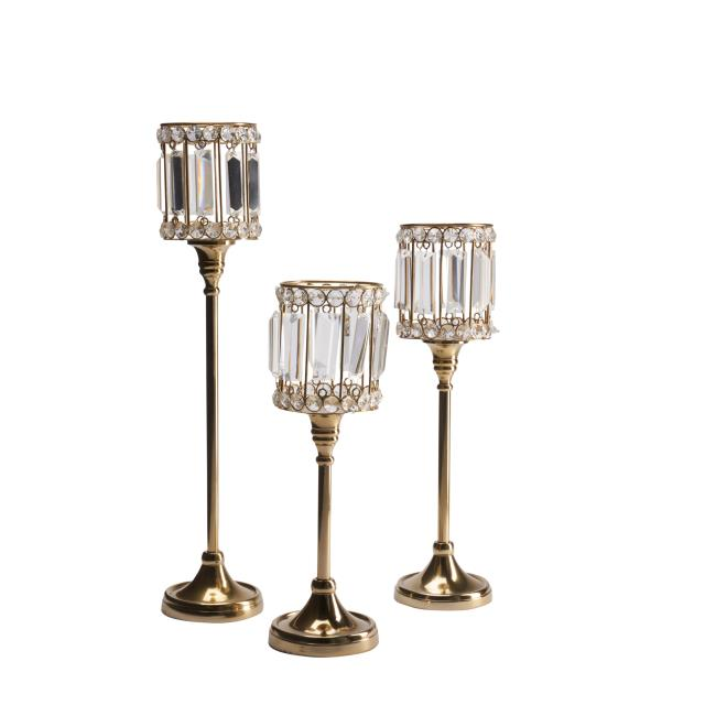 Crystal Gold Votive Candle Holders