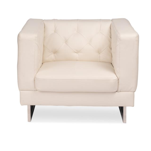 White Button Backed Armchair