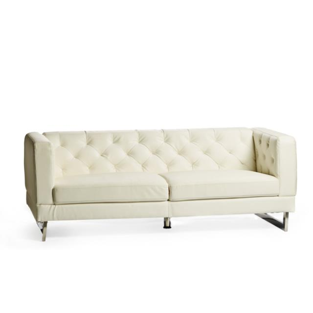 White Button Backed Couch