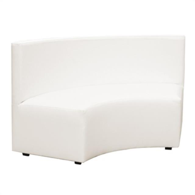 White Incurve Radius Bench w/ Back
