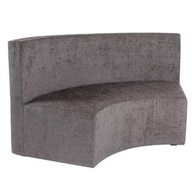 Grey Radius Incurve Bench w/ Back