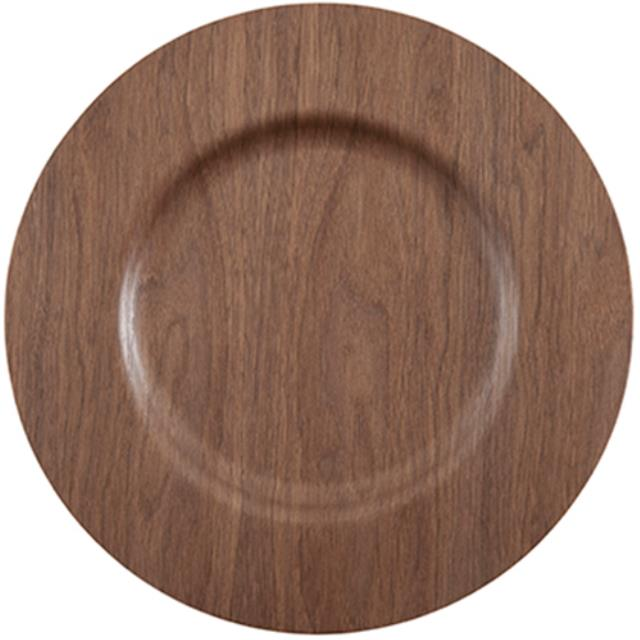 13 1/2 inch Round Walnut Wood Charger