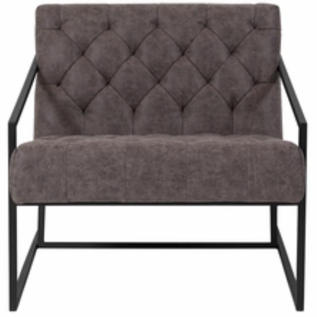 Grey Leather Tufted Lounge Chair
