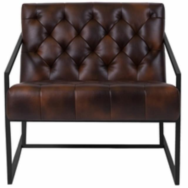 Brown Leather Tufted Lounge Chair