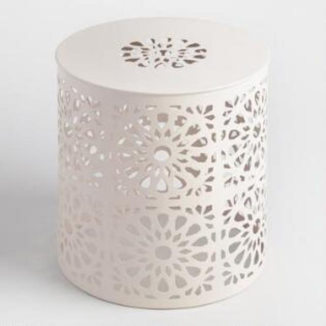 Table, End White Metal