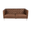 Dark Saddle Leather Tufted Couch
