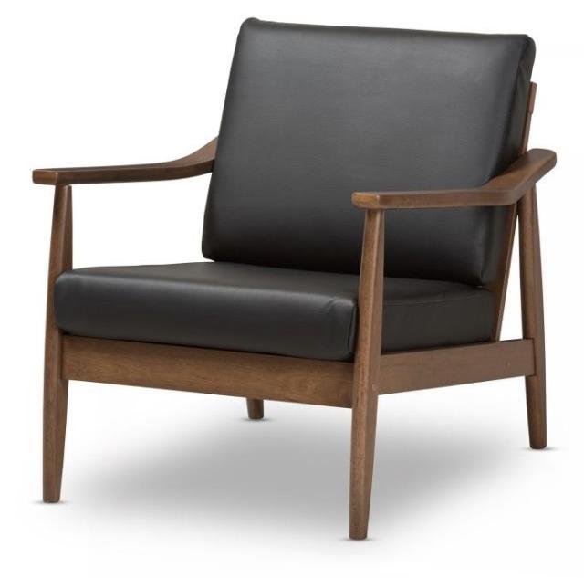 Walnut Wood Black Leather Lounge Chair