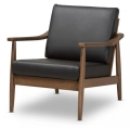 Walnut Wood Black Leather Lounge Chair