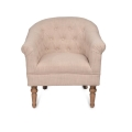 Ivory Button Tufted Arm Chair