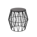 Black Metal Wicker Stool