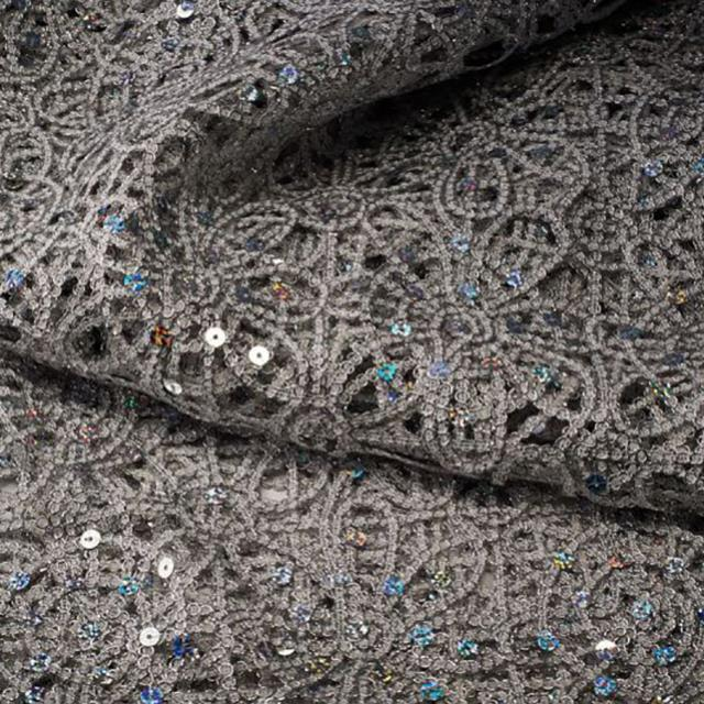 14 x 108 inch Silver Sparkle Lace Runner